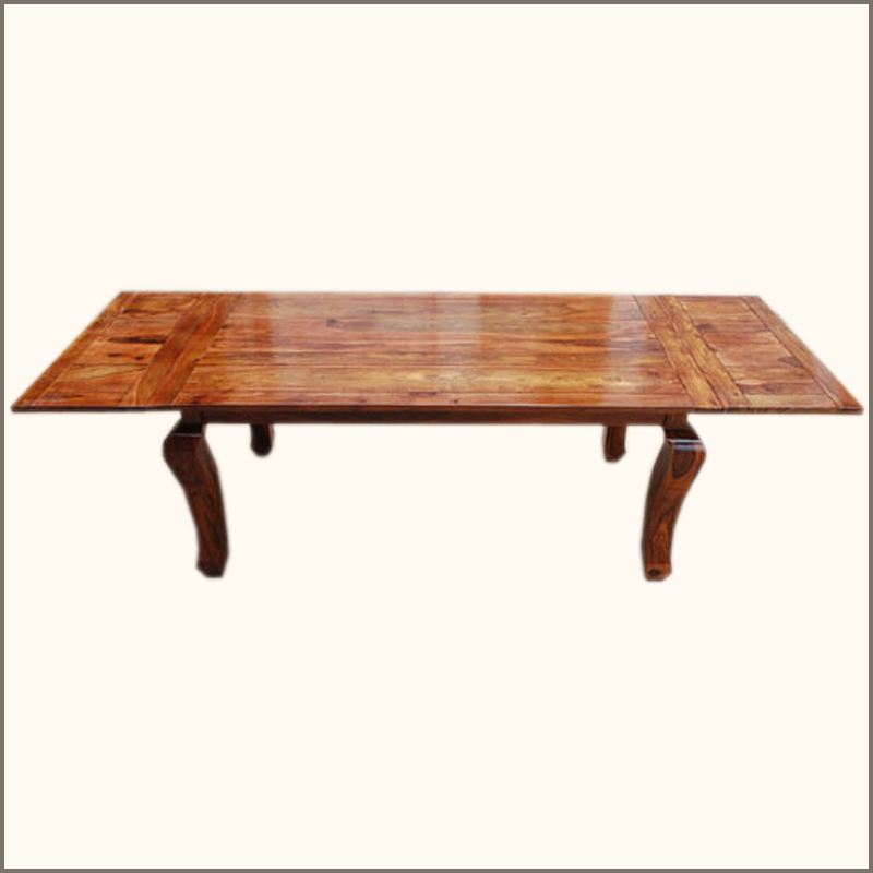 Contemporary Solid Wood 8 Seater Rustic Dining Table Extensions Cabriole Legs