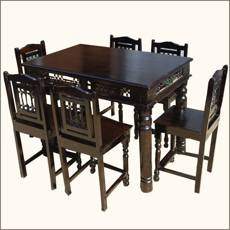 7 pc pub counter height wood kitchen dining room table for Dining room table 6 person