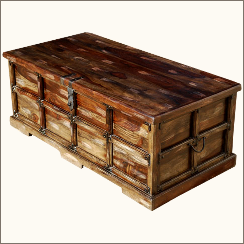 Unique Steamer Style Storage Trunk Coffee Table Chest W