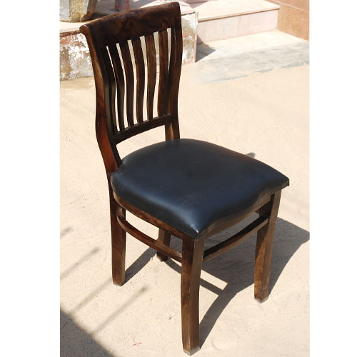 Mediterranean Black Leather Seat Wave Back Dining Room