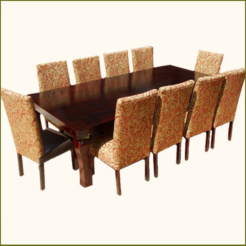 New large family 11 pc dining table chairs set furniture for 10 person dining table for sale