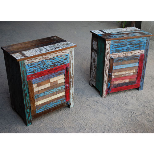 1M. Appalachian Rustic Hand Painted End Table Set