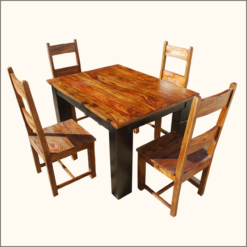 wood dining table and 4 chairs set rustic furniture ebay
