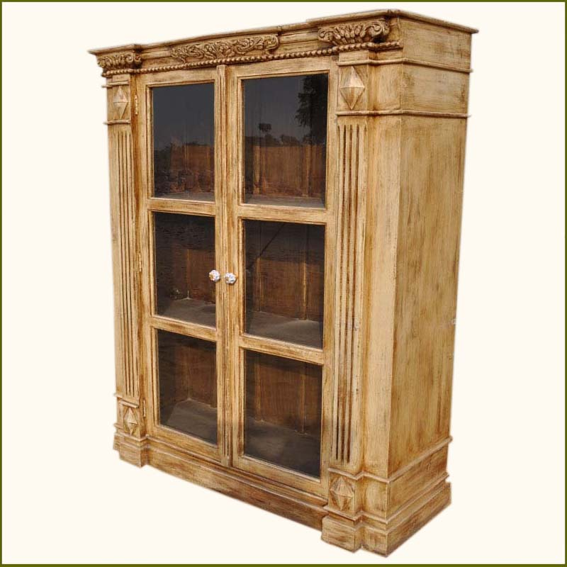 1A. Boston Harmony Solid Wood Hand Carved Bookcase