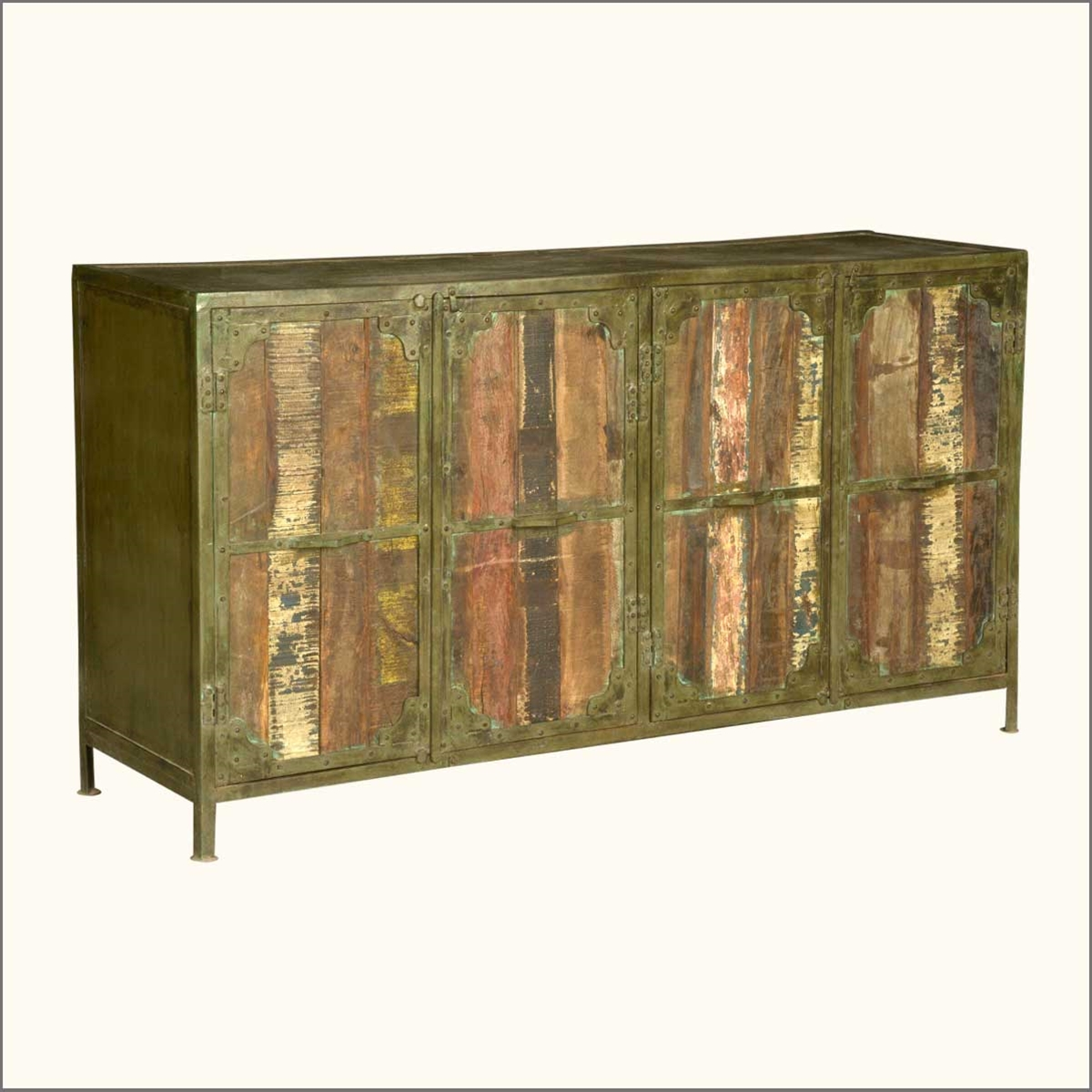 Metal Foyer Cabinet : Industrial iron reclaimed wood rustic drawer hall entry