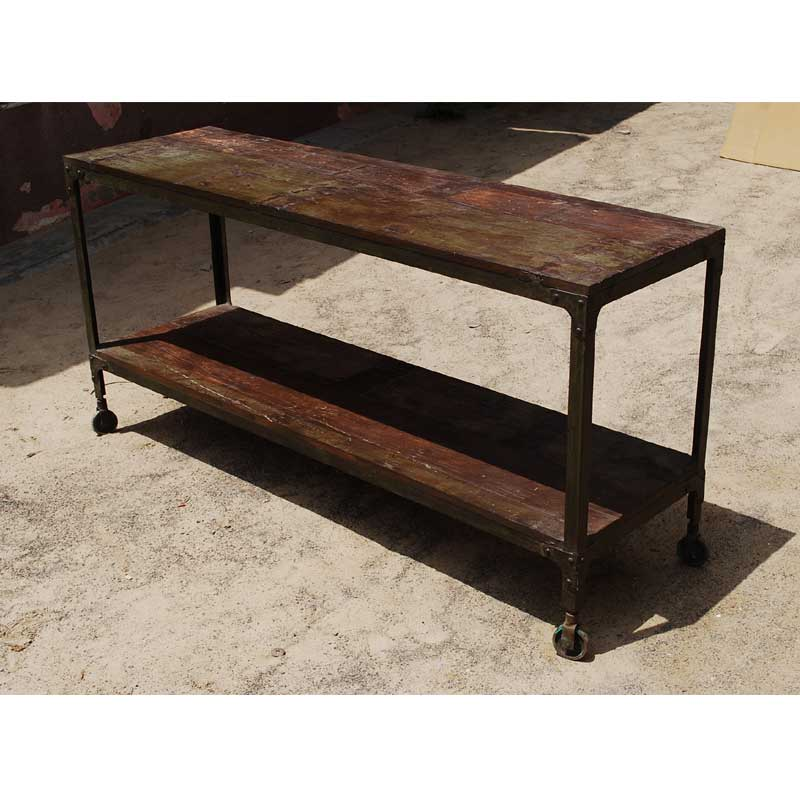 Rustic Iron Console Table ~ Rustic industrial distressed reclaimed wood iron rolling