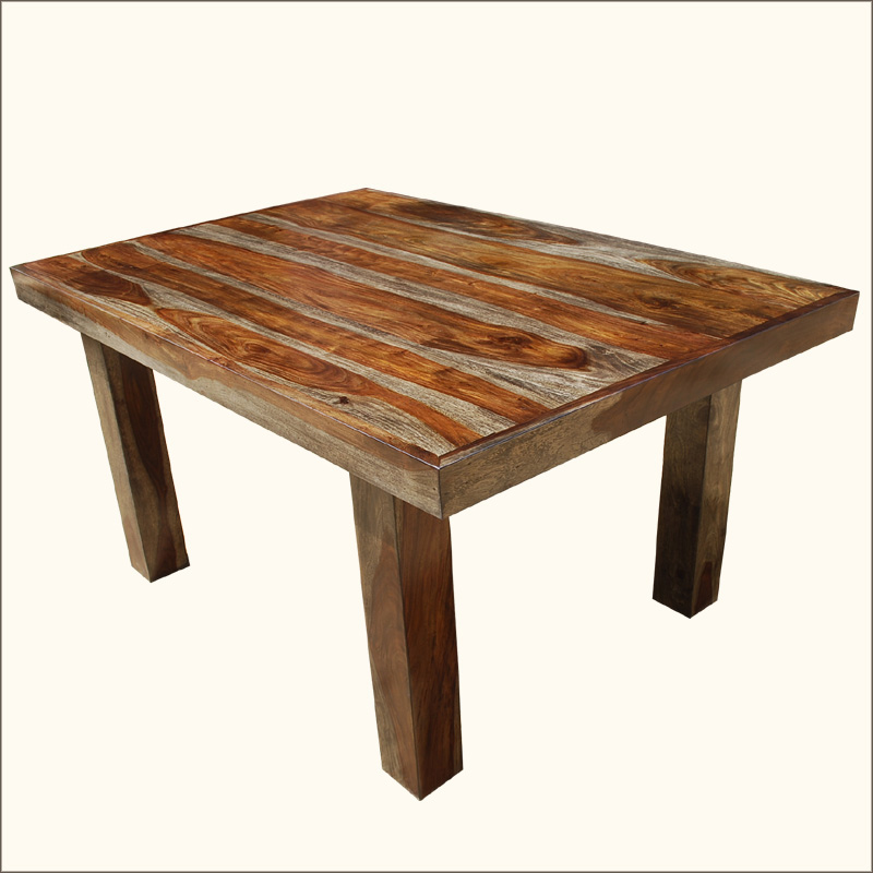 60 solid wood contemporary rustic dining room table for Rustic dining room table