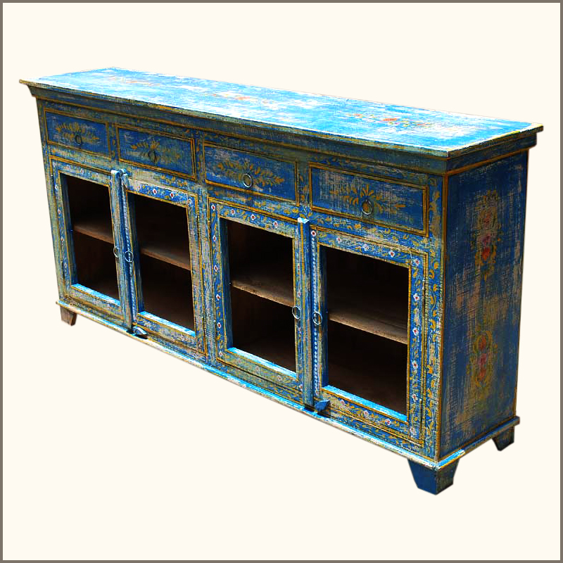 Painted Wooden Sideboard ~ Wood distressed painted sideboard dining room buffet table