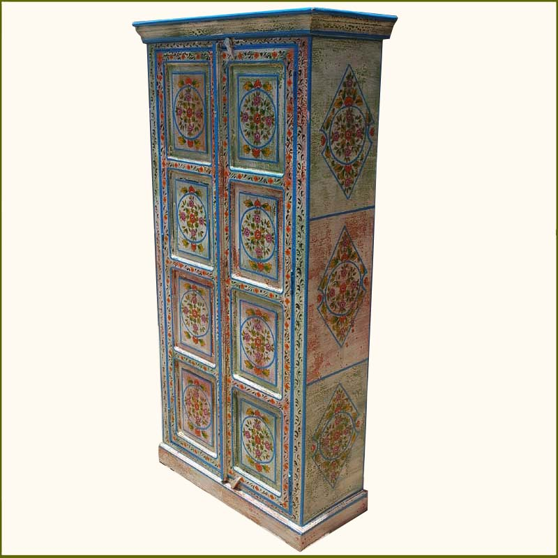 1B. Vintage Victorian Distressed Blue Hand Painted Armoire
