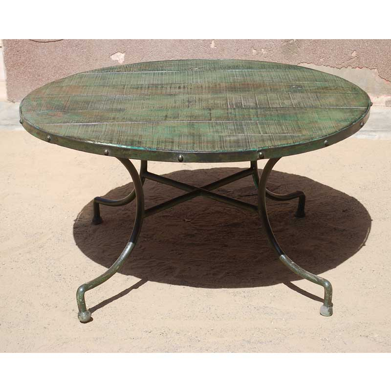 "Reclaimed Wood Industrial Round Coffee Table: 36"" Industrial Rustic Round Reclaimed Wood Iron Metal"