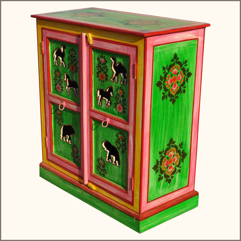 Whimsical Hand Painted Solid Wood Storage Kitchen Cabinet