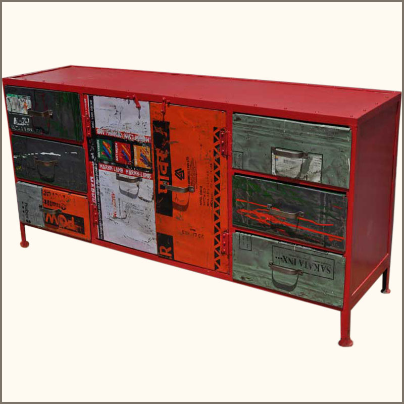 Beautiful industrial iron metal dining room buffet credenza sideboard cabinet - Buffet industriel metal ...