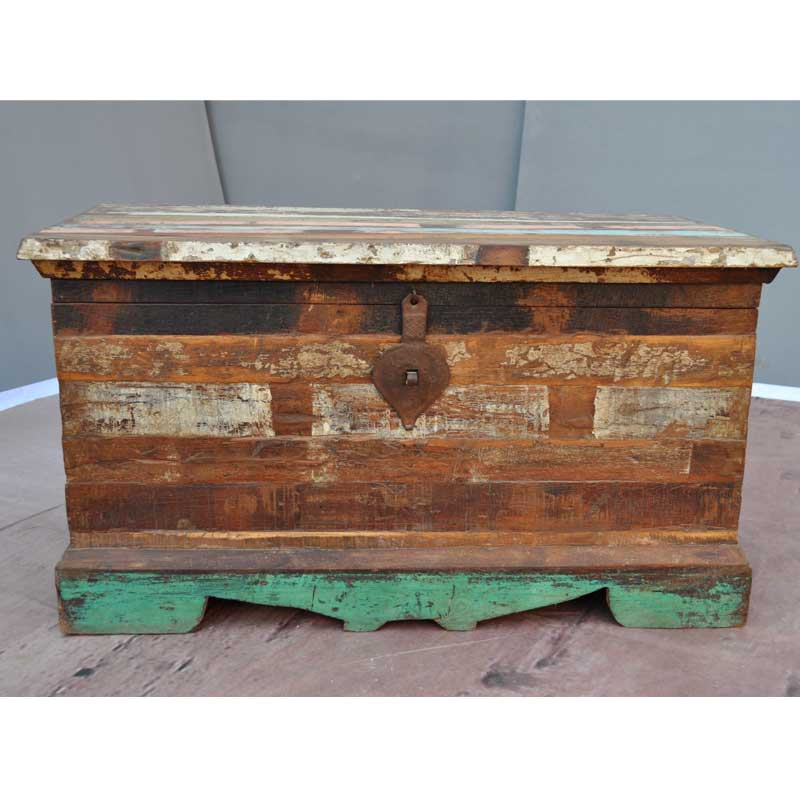 Rustic Old Wood Distressed Coffee Table Storage Box Chest