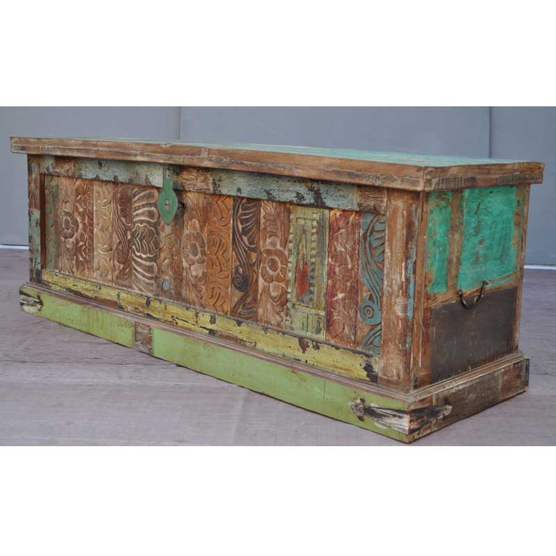 Carved Rustic Distressed Coffee Table Storage Box Trunk New EBay