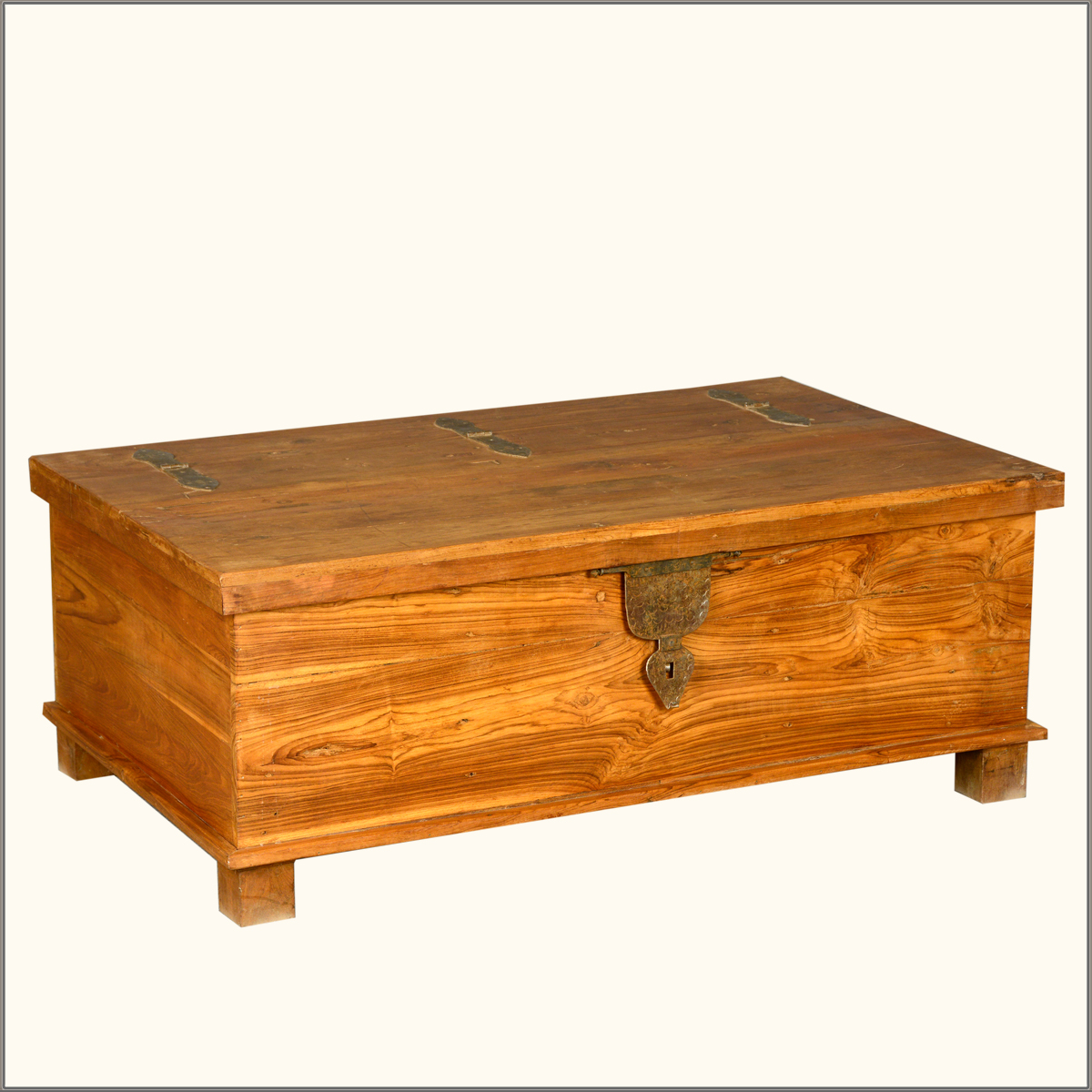 Rustic Teak Wood Wrought Iron Distressed Coffee Table Storage Box Chest Trunk