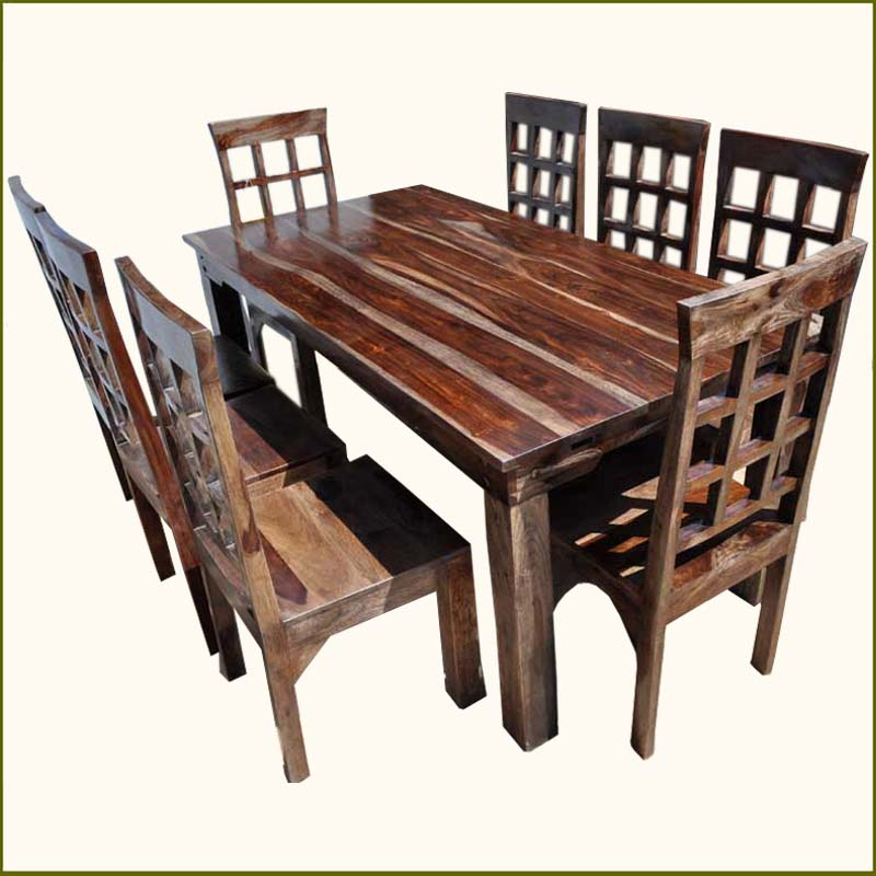 9pc solid wood custom large dining table chairs set
