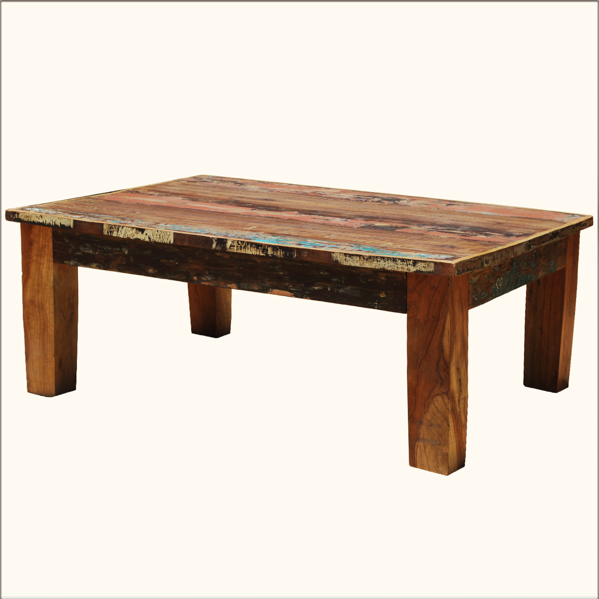 Distressed rustic reclaimed coffee table wood multi color cocktail furniture ebay Rustic wooden coffee tables
