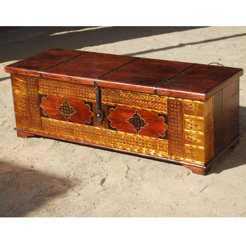 1U. Palace Gates Decorative Brass & Wrought Iron Coffee Table Chest