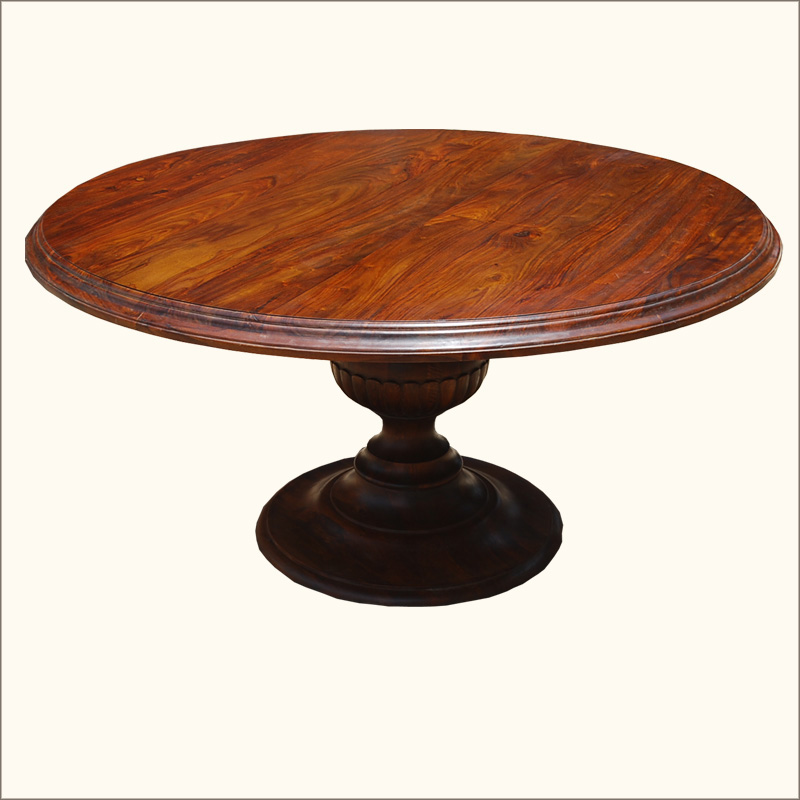 "6 Seater Round Dining Table: Rustic 60"" Hardwood 6 Seater Round Dining Room Pedestal"