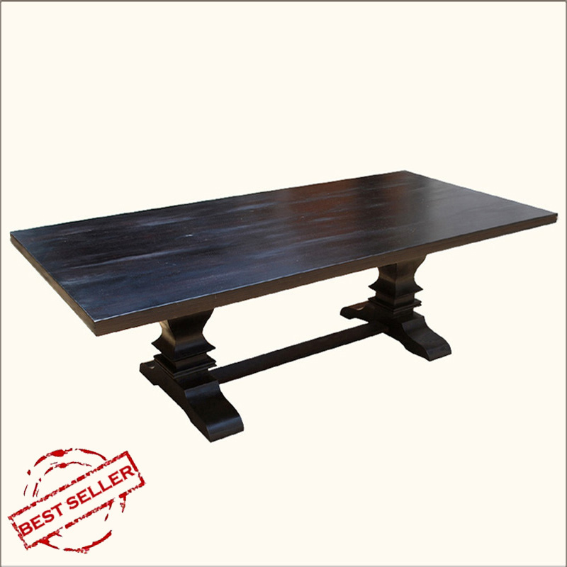 Rustic Trestle Dining Room Table for 8 People Farmhouse Solid Wood Furniture