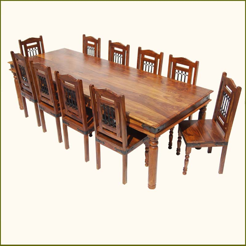 Large rustic 11 pc solid wood dining table chair set for for 10 person dining table for sale
