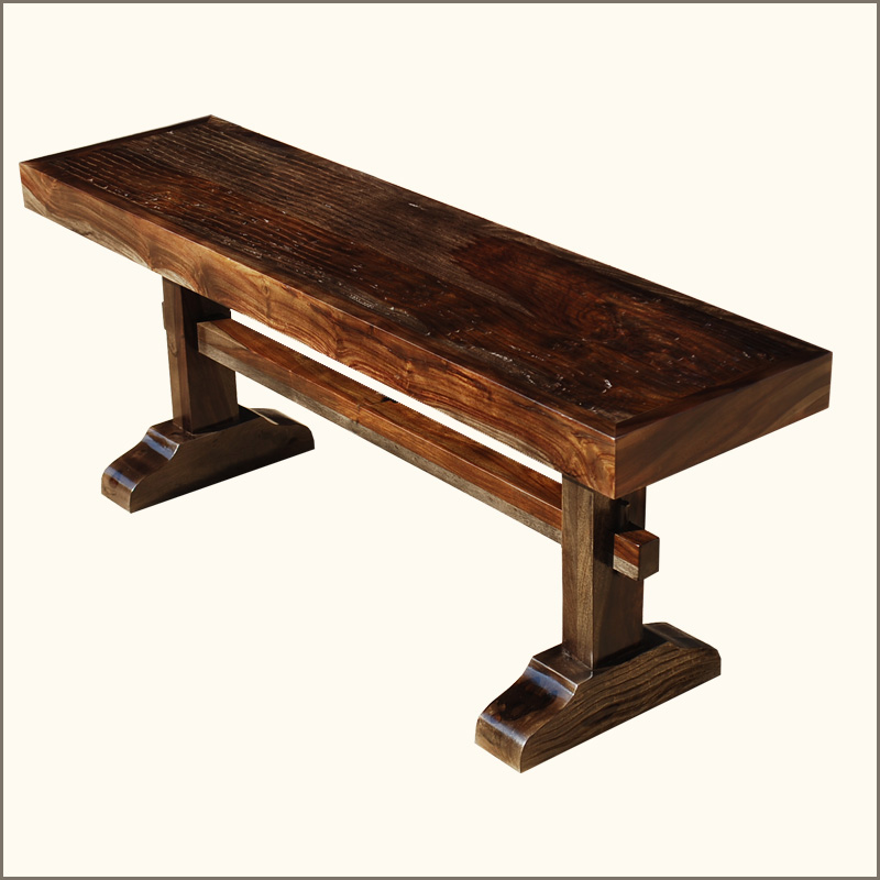 Amish Trestle Solid Wood Rustic Wooden Backless Bench