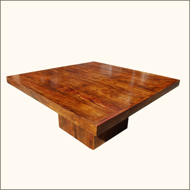 Contemporary 64 Solid Wood Square Pedestal Dining Table