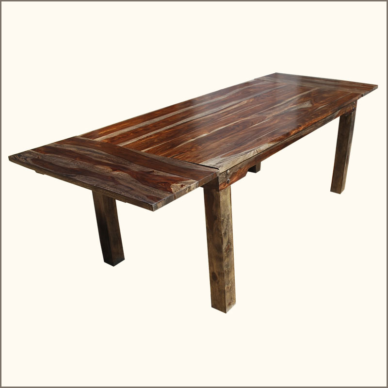 Dining Table Seats 8: Rustic Large Dining Table With Leaves Seats 8 People Solid