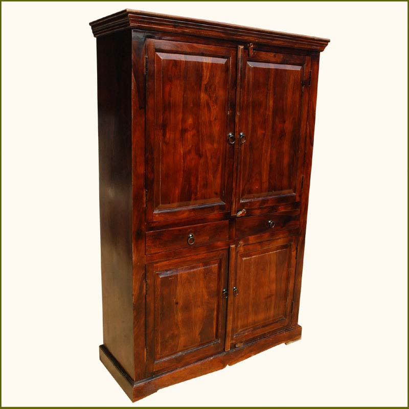 1B. Lincoln Study Four Door Indian Rosewood Armoire