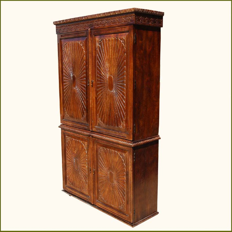 1B. Santa Fe Sunburst Four Door Indian Rosewood Armoire
