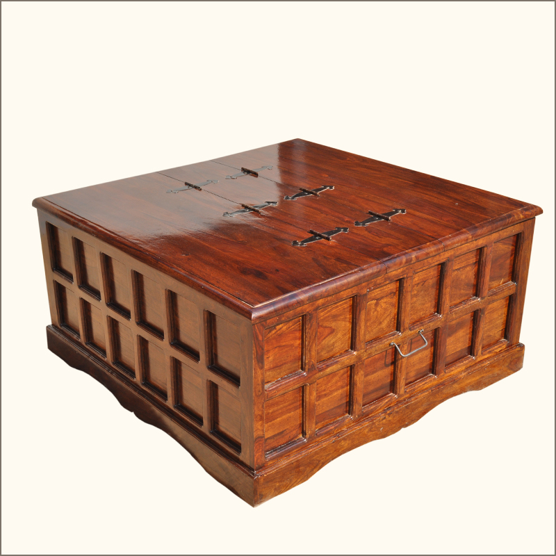 Mission solid wood square coffee cocktail table storage trunk chest furniture ebay Square coffee table with shelf