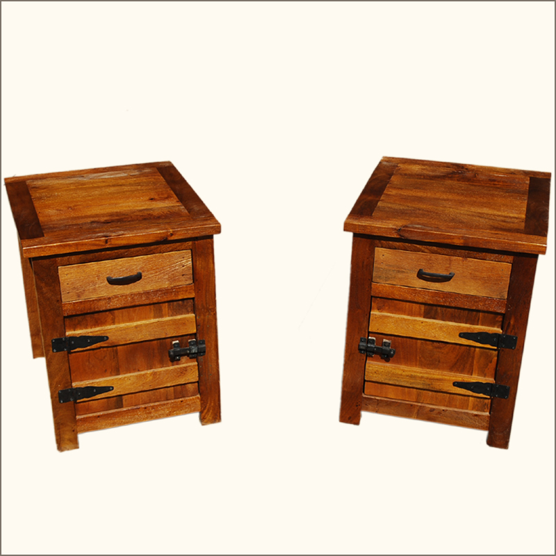solid teak wood bedside box night stand end table twin set f