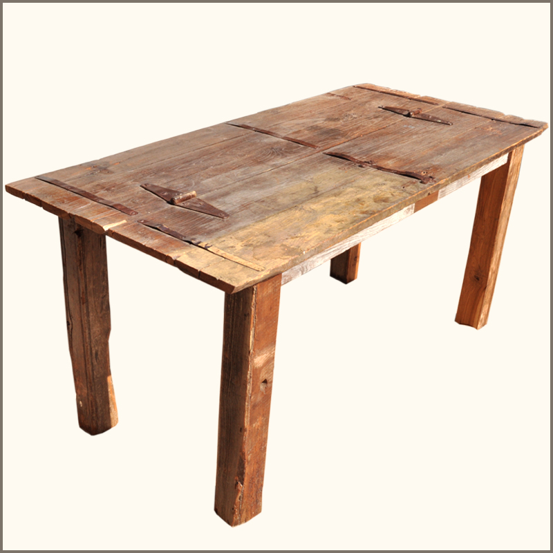 Rustic Reclaimed Teak Wood Distressed Large Family Dining Table For 8 People