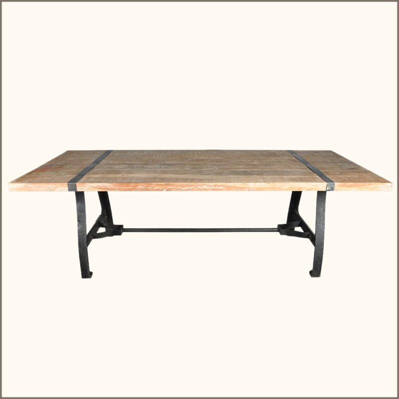 industrial reclaimed wood wrought iron dining room table furniture new