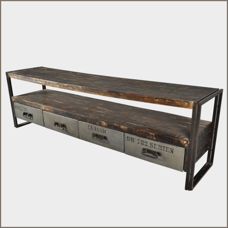 Industrial iron reclaimed wood rustic drawer hall entry for Foyer console table