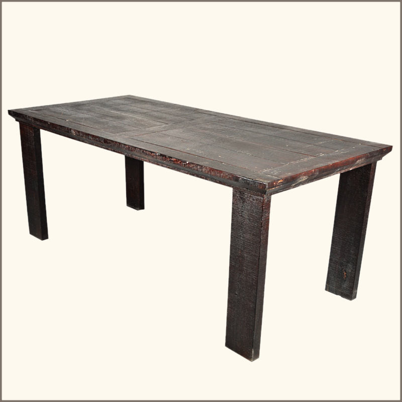 Dining table solid wood dining table distressed for Hardwood dining table