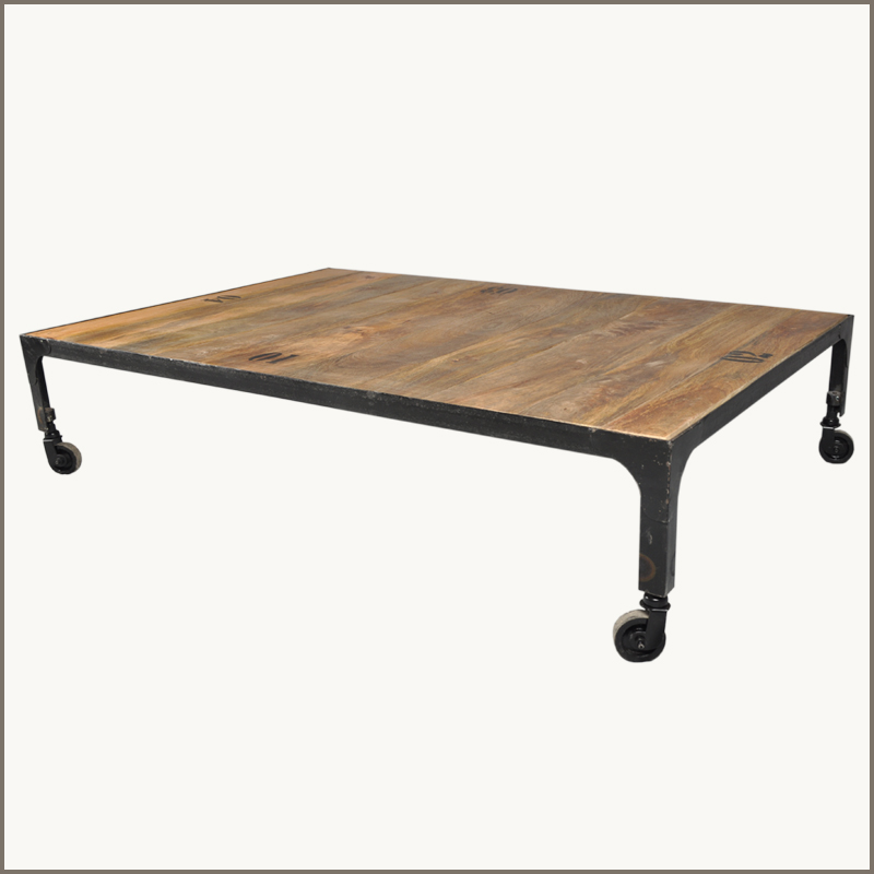 Industrial Solid Hardwood Iron Metal Rustic Cocktail Coffee Table Cart Wheels Ebay