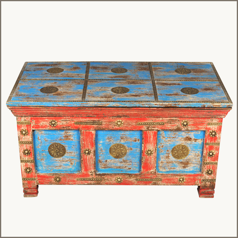 Mango Wood Distressed Painted Coffee Table Storage Trunk Chest EBay