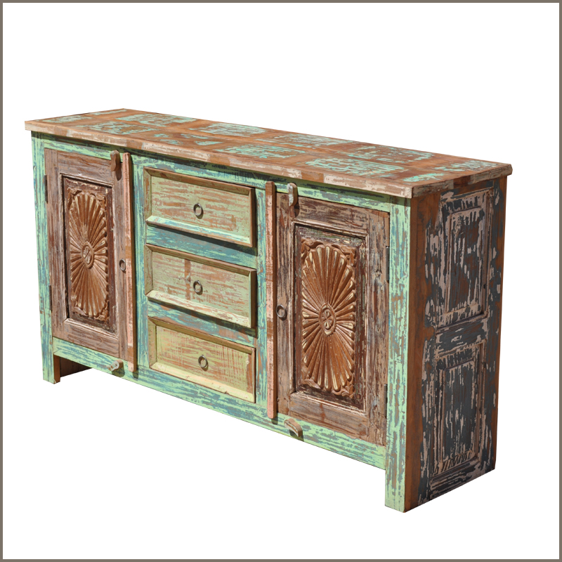 Rustic Wood Distressed 3 Drawer Storage Cabinet Sideboard