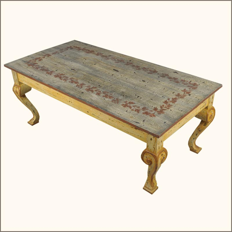 oklahoma farmhouse hand painted distressed coffee cocktail table furniture new ebay