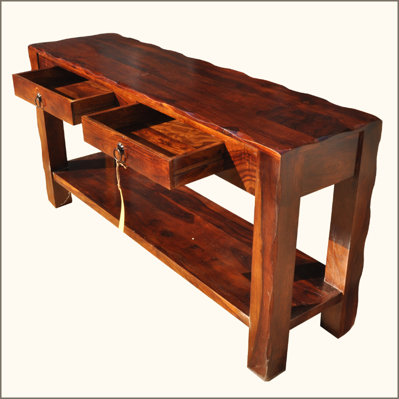 Foyer Table With Storage : Rustic solid rosewood storage drawer hall console foyer