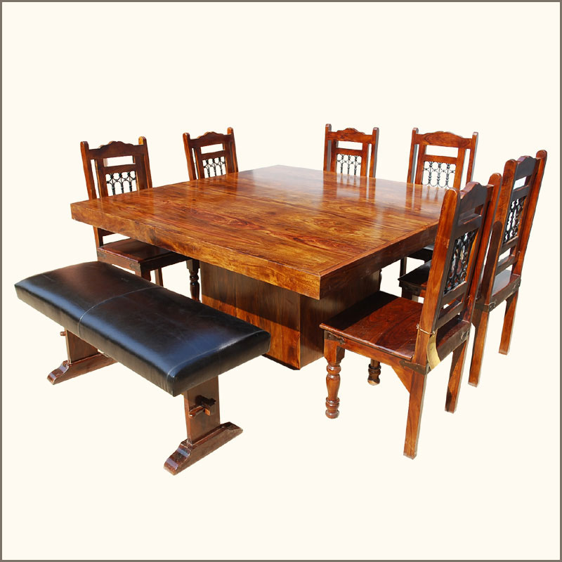Solid Wood Square Pedestal Rustic Dining Table W Bench 6 Chairs EBay