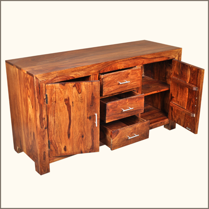 Solid wood rustic storage drawer cabinet buffet credenza