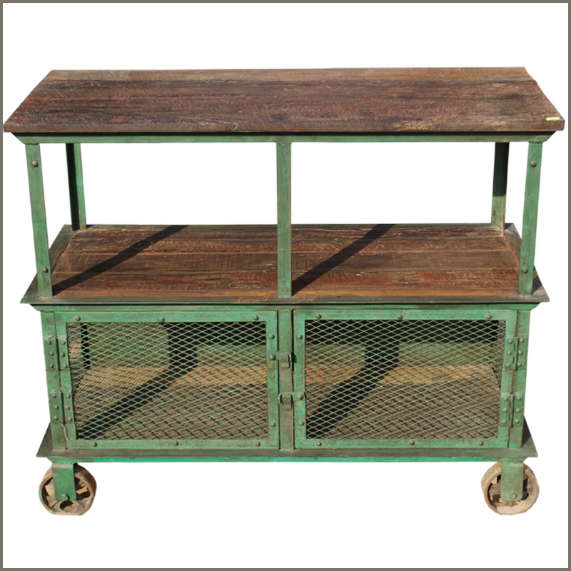 Wood console iron metal 3 tier industrial factory rolling wheel cart