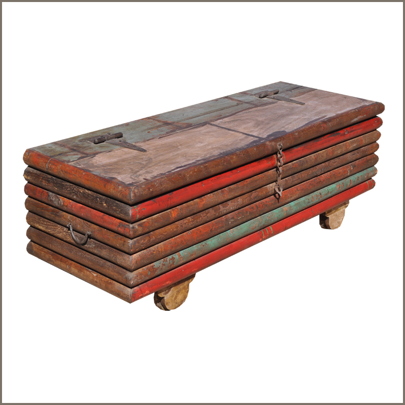 Rustic reclaimed wood distressed multicolor storage box trunk coffee table chest ebay Coffee table chest with storage