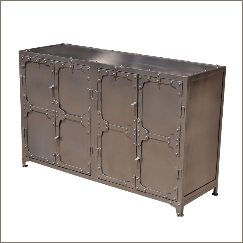 Industrial wrought iron metal dining room door buffet cabinet credenza sideboard - Buffet metal industriel ...