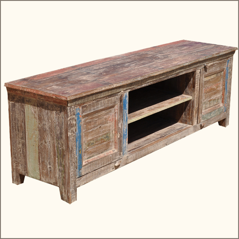 Rustic distressed reclaimed wood drawer storage Rustic tv stands