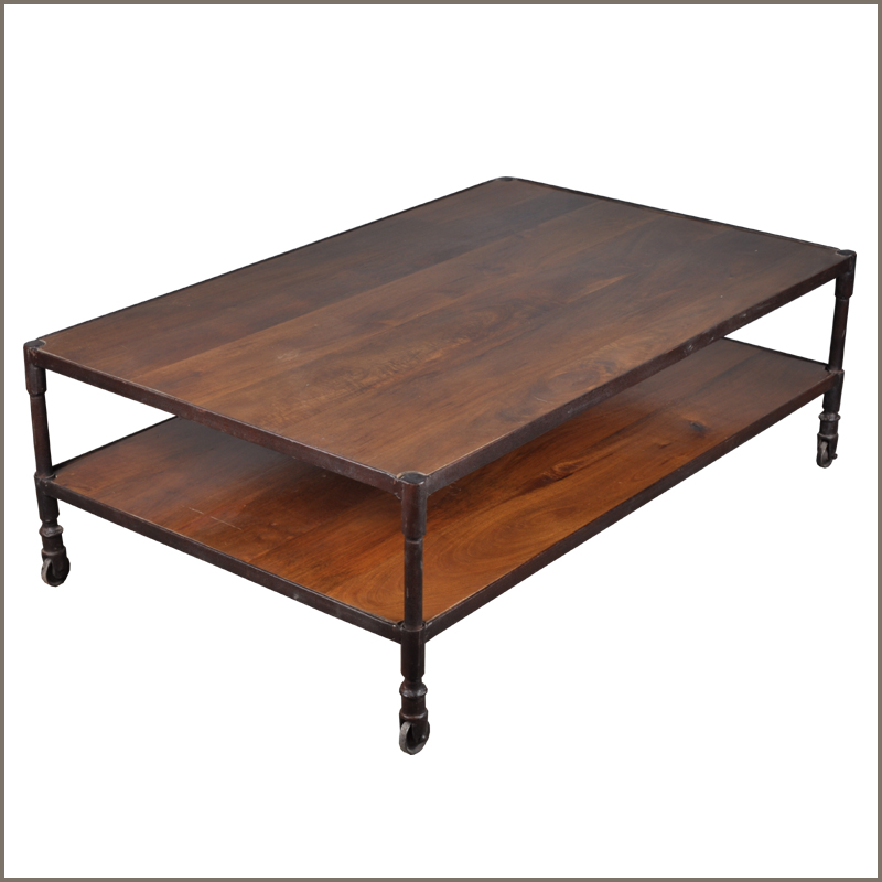 1. Industrial Iron & Mango Wood 48&#39;&#39; Long 2 Tier Coffee Table