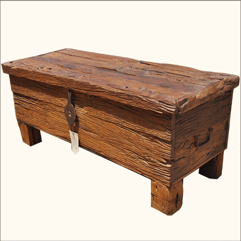 Rustic Railway Road Ties Reclaimed Wood Coffee Table Storage Box Trunk Chest Ebay