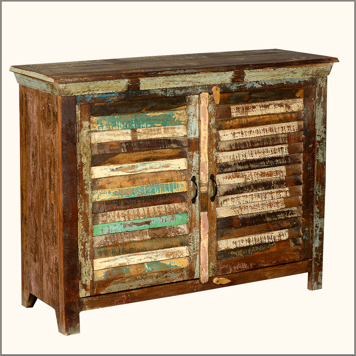 Reclaimed Wood Kitchen Cabinets: Rustic Old Reclaimed Wood Weathered Distressed Sideboard